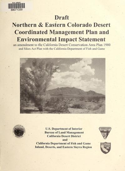 Draft northern and eastern Colorado Desert coordinated management plan and environmental impact statement