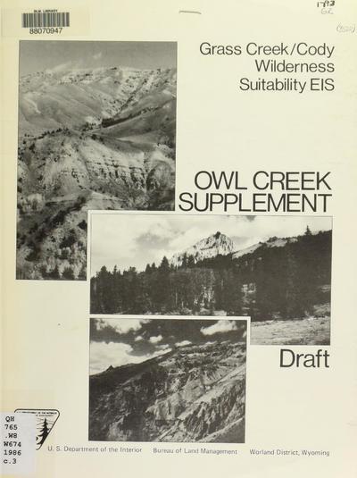 Grass Creek/Cody wilderness suitability EIS, Owl Creek supplement, draft