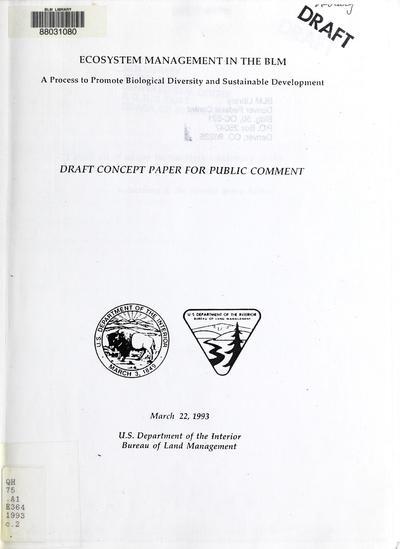 Ecosystem management in the Bureau of Land Management