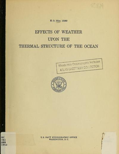 Effects of weather upon the thermal structure of the ocean. Progress report no. 1. [Prepared by J.J. Schule, Jr., with the assistance of L.S. Simpson, and A. Shapiro]