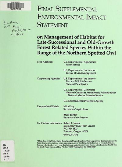 Final supplemental environmental impact statement on management of habitat for late-successional and old-growth forest related species within the range of the northern spotted owl /