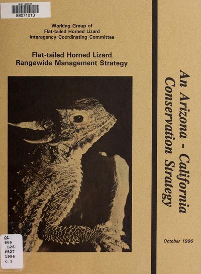 Flat-tailed horned lizard, rangewide management strategy /