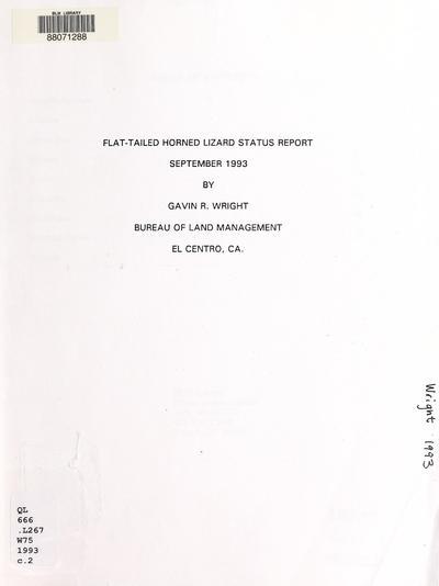 Flat-tailed horned lizard status report, September 1993 /