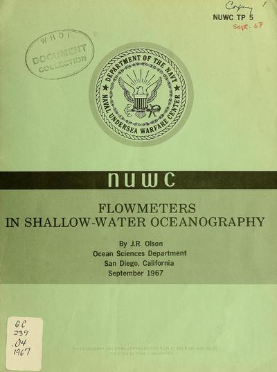 Flowmeters in shallow-water oceanography / by J.R. Olson.
