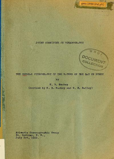 The general hydrography of the waters of the Bay of Fundy / by H.B. Hachey.
