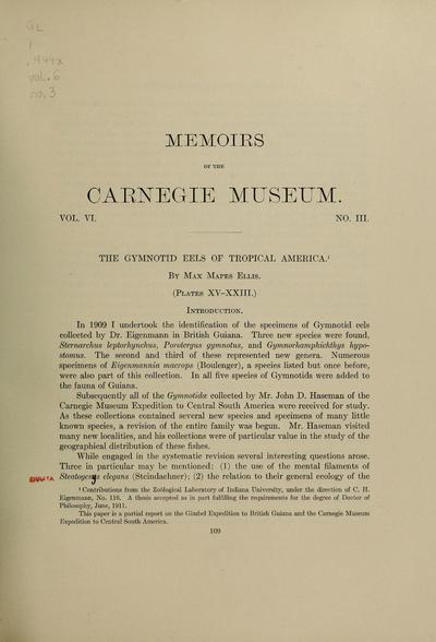 The gymnotid eels of tropical America / by Max Mapes Ellis.