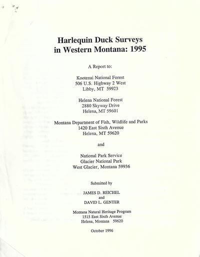 Harlequin duck surveys in western Montana : 1995 /