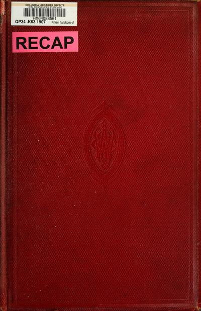Kirkes' handbook of physiology, rev. and rewritten by Charles Wilson Greene.