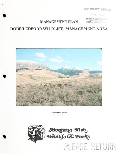 Management plan, Robb/Ledford wildlife management area.