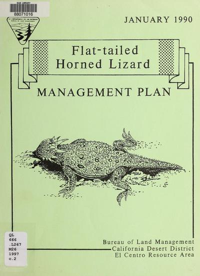 Flat-tailed horned lizard management plan