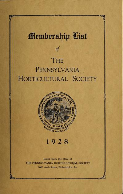Membership list of the Pennsylvania Horticultural Society.