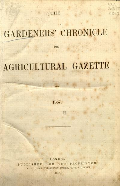 The Gardeners' chronicle and agricultural gazette.
