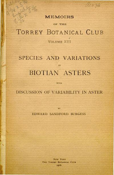 Memoirs of the Torrey Botanical Club.