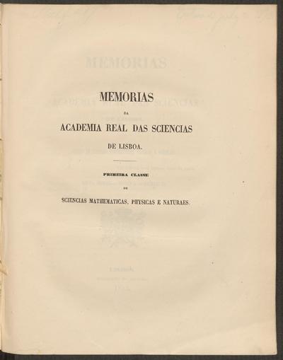 Memorias da Academia Real das Sciencias de Lisboa.