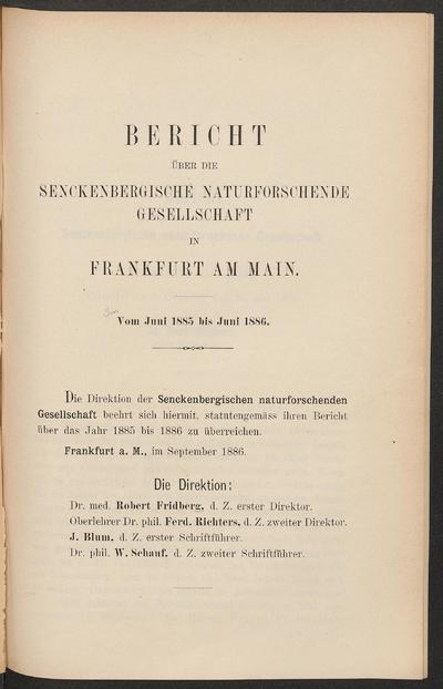 Bericht über die Senckenbergische Naturforschende Gesellschaft in Frankfurt am Main.