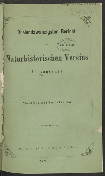 Bericht des Naturhistorischen Vereins in Augsburg.