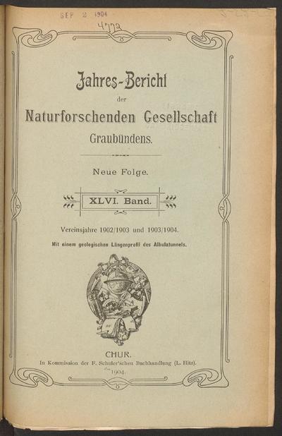 Jahresbericht der Naturforschenden Gesellschaft Graubündens.