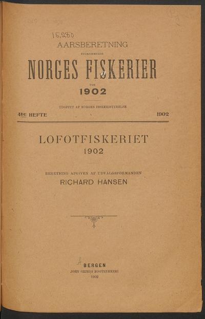 Årsberetning vedkommende Norges fiskerier.