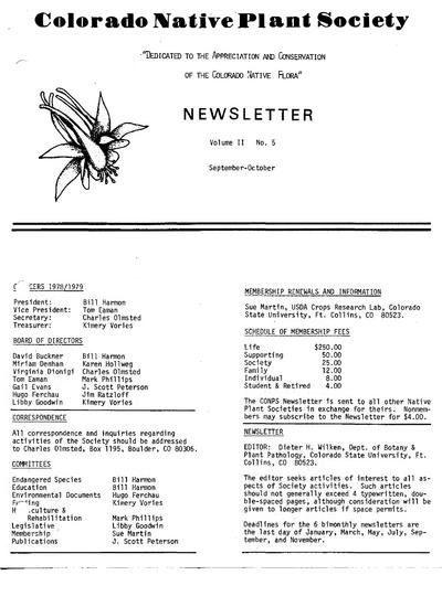 Newsletter (Colorado Native Plant Society)