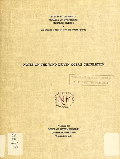 Notes on the wind-driven ocean circulation / by Gerhard Neumann.