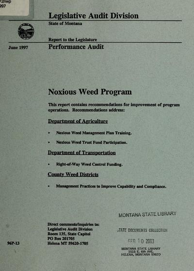 Report to the Legislature : Performance audit