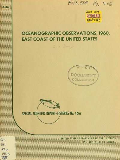 Oceanographic observations, 1960, east coast of the United States / by C. Godfrey Day.