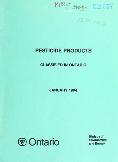 Pesticide products classified in Ontario.