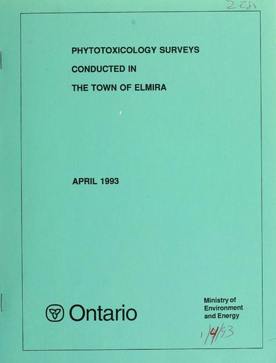 Phytotoxicology surveys conducted in the town of Elmira : Uniroyal Corporation, 1989, Sulco Canada Colours Ltd., 1990, Varnicolour Chemical Ltd., 1990 : report / prepared by W.D. McIlveen.