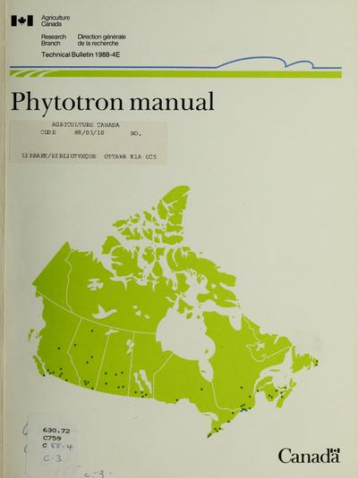 Phytotron manual /