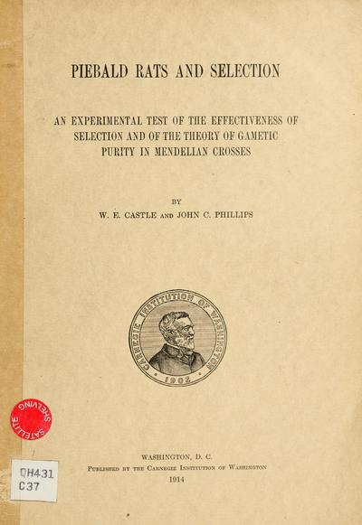 Piebald rats and selection; an experimental test of the effectiveness of selection and of the theory of gametic purity in Mendelian crosses, by W.E. Castle and John C. Phillips.