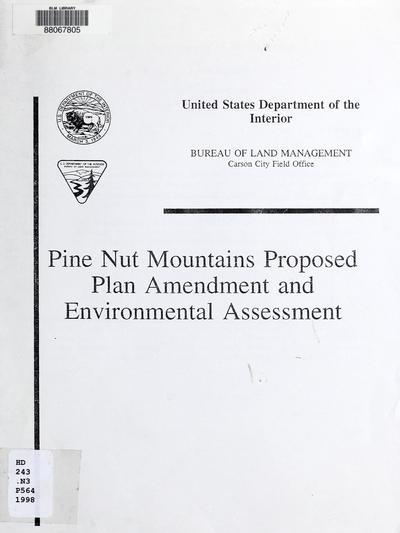 Pine Nut Mountains proposed plan amendment and environmental assessment /