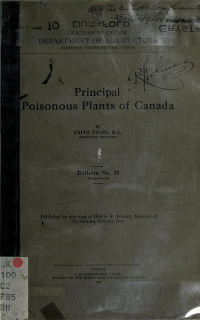 Principal poisonous plants of Canada / by Faith Fyles.