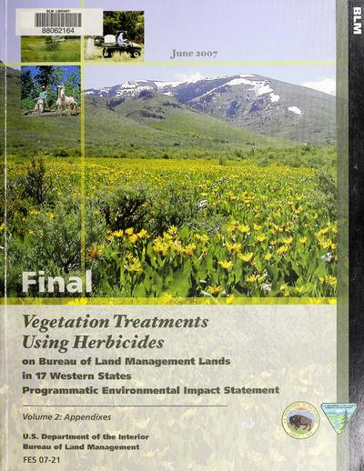 Final programmatic environmental impact statement vegetation treatments using herbicides on Bureau of Land Management lands in 17 western states
