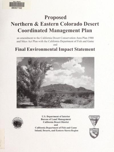 Proposed northern and eastern Colorado Desert coordinated management plan
