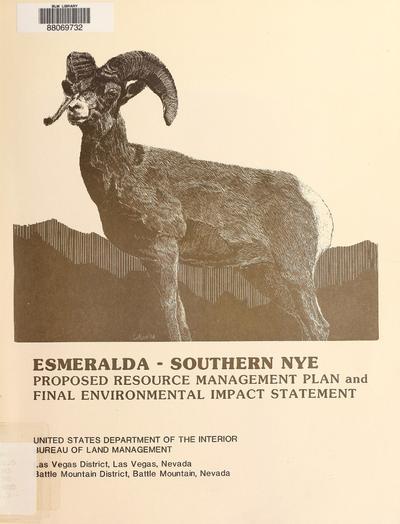 Esmeralda-Southern Nye proposed resource management plan and final environmental impact statement