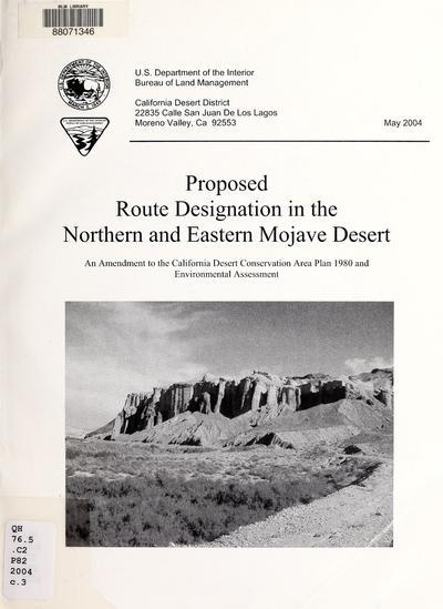 NEMO proposed route designation plan amendment and EA