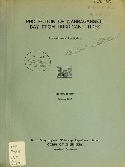 Protection of Narragansett Bay from hurricane tides : hydraulic model investigation : interim report.