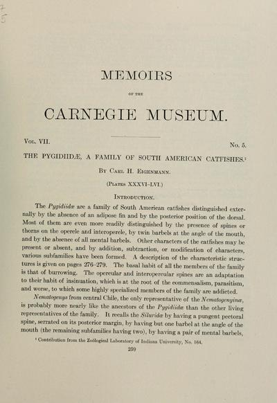The Pygidiidae : a family of South American catfishes / by Carl H. Eigenmann.