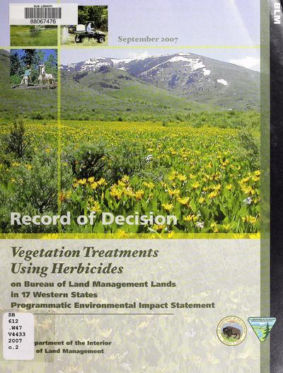 BLM vegetation treatments using herbicides, final programmatic EIS record of decision