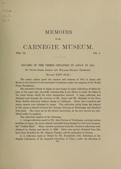 Record of the fishes obtained in Japan in 1911 / by David Starr Jordan and William Francis Thompson.