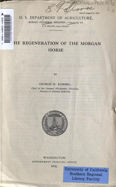 The regeneration of the Morgan horse / by George M. Rommel.