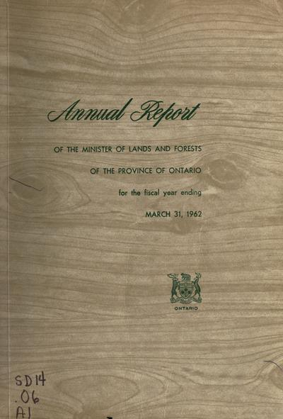 Annual report of the Minister of Lands and Forests of the Province of Ontario