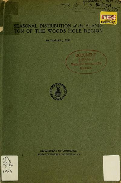Seasonal distribution of the plankton of the Woods Hole region.