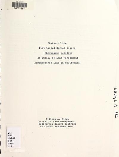 Status of the flat-tailed horned lizard (Phrynosoma mcallii) on Bureau of Land Management administered land in California /