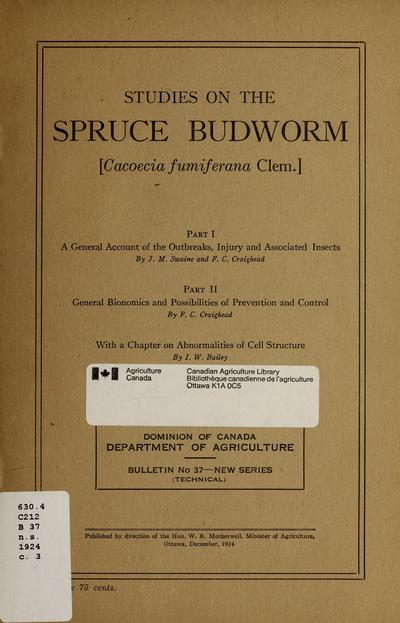 Studies on the spruce budworm (Cacoecia fumiferana Clem.)