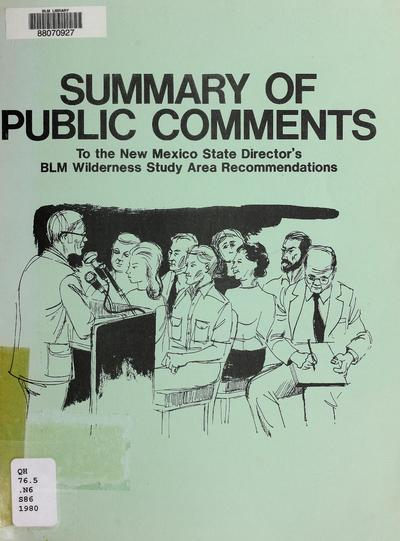 Summary of public comments to the New Mexico state director's wilderness study area recommendations /