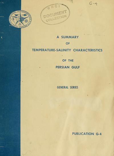 A summary of temperature-salinity characteristics of the Persian Gulf.