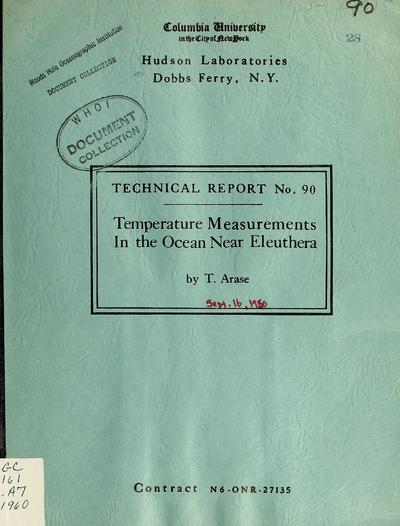 Temperature measurements in the ocean near Eleuthera / by T. Arase.