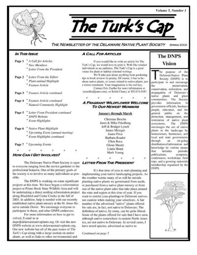 Newsletter of the Delaware Native Plant Society