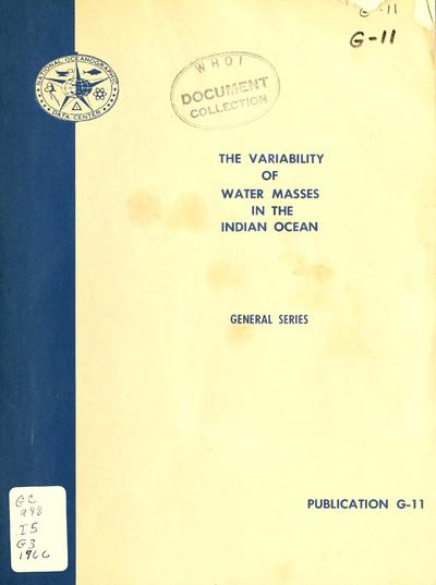 The variability of water masses in the Indian Ocean, by James F. Gallagher.